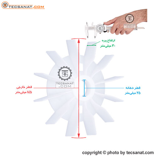 پروانه خنک کننده الکتروموتور سوری سایز 25