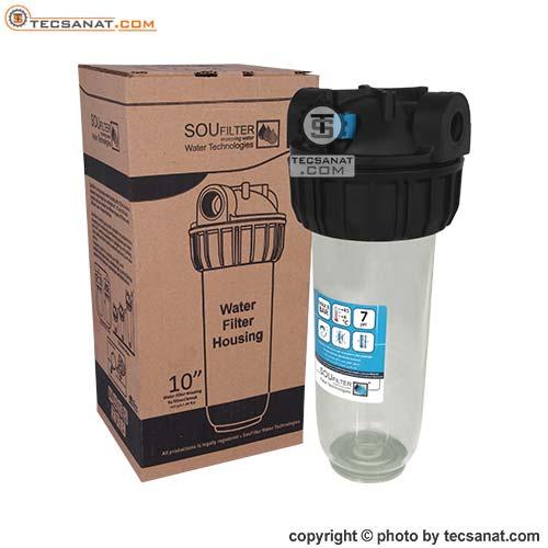 هوزینگ 10 اینچ ورودی 1/2 اینچ شفاف سوفیلتر SouFilter